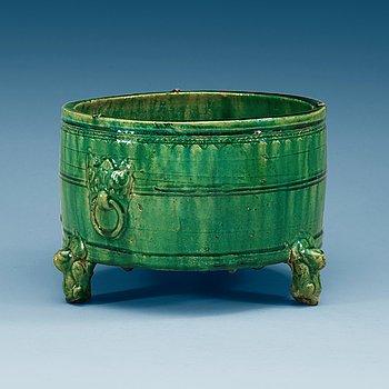 1443. A green glazed tripod censer, presumably Han dynasty.