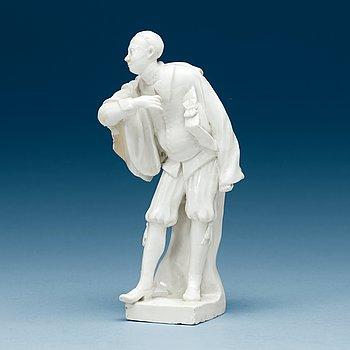 856. A Swedish Marieberg soft paste figure of a comedia del arte figure, 18th Century.