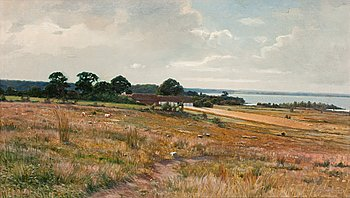 AXEL HJALMAR LINDQVIST, Landscape from the south of Sweden. Signed A. H. Lindqvist. Canvas 40 x 70 cm.