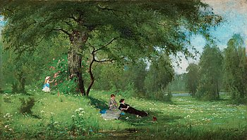 ARVID MAURITZ LINDSTRÖM, Merry company on a summer meadow.