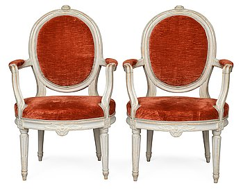 337. A PAIR OF ARMCHAIRS.