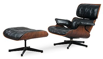 281. Charles & Ray Eames, LOUNGE CHAIR WITH OTTOMAN.