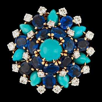 1051. A blue sapphire, turqouise and brilliant cut diamond brooch, tot. 1.20 cts, c. 1960's.
