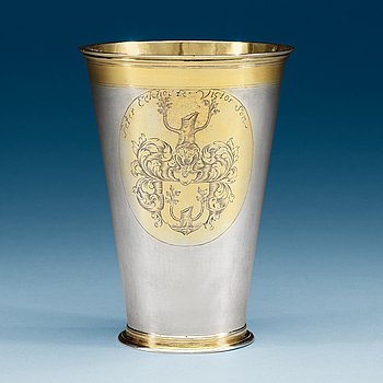 971. A Baltic early 18th century parcel-gilt beaker, makers mark of Reinhold Schröder (1683-1710), Reval.