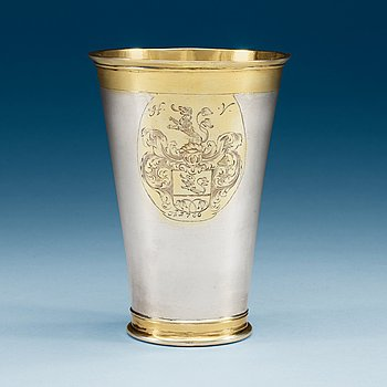 972. A Baltic early 18th century parcel-gilt beaker, makers mark of Matthias Dreier (1699-1710), Reval.