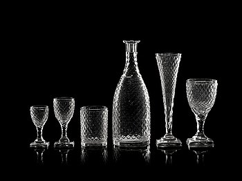842. A late Gustavian glass service. (31 pieces).