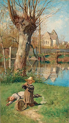 Georg pauli, pastoral scene on the bank of the loing