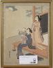 Harunobu, suzuki, hans efterföljare, 2 st, träsnitt, japan.