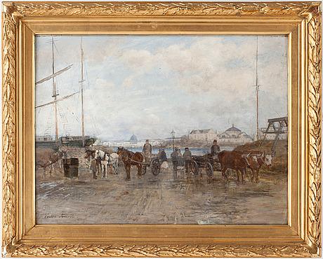 Victor forssell, olja på pannå, sign, utförd på 1880-talet.