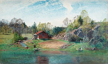 ALFRED THÖRNE, Landscape with lake. Signed Alfr. Thörne and dated 1890. Canvas 75 x 125 cm.