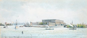 107. Anna Palm de Rosa, The Stockholm palace with the steam boat Wester Norrland.