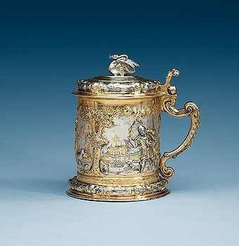 970. A Polish 17th century parcel-gilt tankard, makers mark of Melcher Jaske, Gedansk (1664-1678).