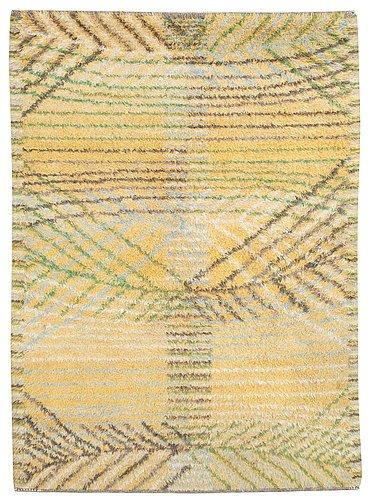 "Rug. ""marina, gul"". knotted pile (rya). 212,5 x 150,5 cm. signed ab mmf bn."