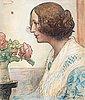 """Carl larsson, """"anna stina (fru alkman f. rydell)"""" [anna stina, mrs. alkman, née rydell]"""