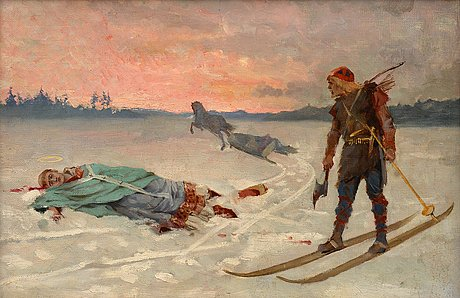 """Albert edelfelt, """"death of bishop henrik""""."""