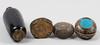 Dosor samt vas, 4 st, mässing, emalj, asien, italien, 1900-tal.