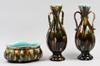 Vaser, ett par samt jardinjär, majolika. rörstrand, sent 1800-tal.