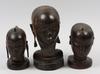 Skulpturer, 3 st, trä, kenya. 1900-tal.