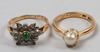 Ringar, 2 st, 18k guld. bl a stigbert.
