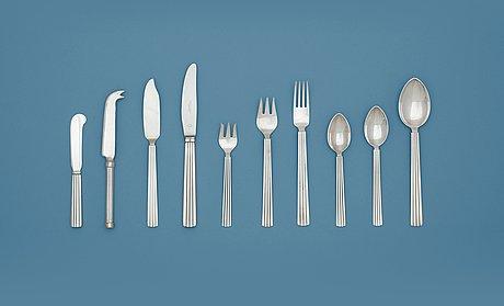 A sigvard bernadotte set of 96 pcs of 'bernadotte' flatware, georg jensen, copenhagen 1945-77.