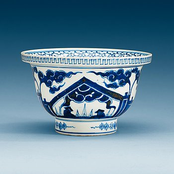A blue and white bowl, Qing dynasty.