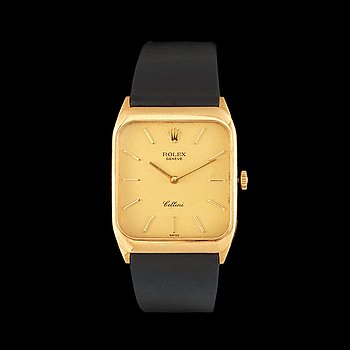 1223. Rolex - Cellini. Manual winding. Gold / leather strap. 31x26mm. Approximately 1980/90-tal. Case no. 4322620, Ref. 4135.