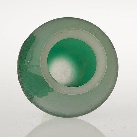 A karl lindeberg art nouveau cameo glass vase, kosta, sweden