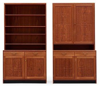 A set of Yngve Ekström teak cabinets and shelf 'Krus', Westbergs, 1950-60's.