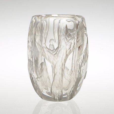 A sven erik skawonius cut and blasted glass vase, kosta, sweden, 1940's