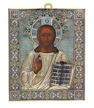 747. IKON, av Pavel Ovtchinnikov, Moskva 1881. Hovleverantösstämpel. Kristus Allhärskaren.