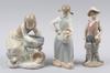 Figuriner, 3 st. porslin. lladro resp nao, spanien.