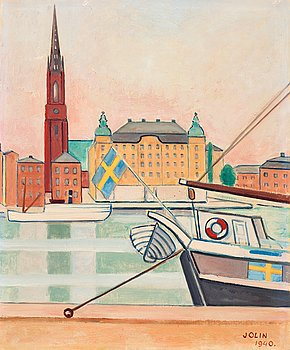 105. Einar Jolin, View of Riddarholmen, Stockholm.