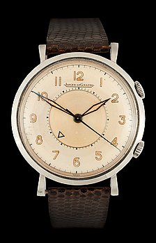1222. Jaeger-LeCultre - Memovox. Manual winding. Steel / leather strap. 1950's. 34 mm. Case no. 393471.