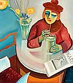 BO VON ZWEIGBERGK, Woman in café. Signed Bo...