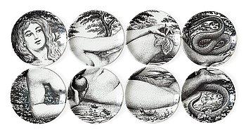 A set of 16 Piero Fornasetti 'Adamo ed Eva' porcelain coasters, Milano, Italy.