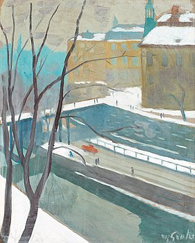 4. Hjalmar Grahn, View towards Riddarholmen in winter, Stockholm.