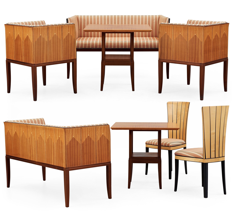 An eliel saarinen 8 pieces 39 cranbrook 39 set of furniture for Eliel saarinen furniture