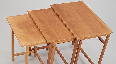 A josef frank mahogany set of occasional tables, svenskt tenn, model 618.