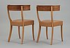 A pair of josef frank walnut, beech and brown leather chairs, svenskt tenn, model 300.