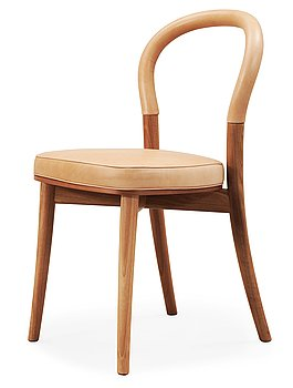 An Erik Gunnar Asplund walnut and beige leather 'Göteborg' chair, by Cassina, Italy.