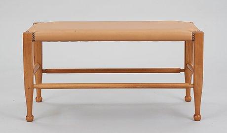 A josef frank mahogany and brown leather bench, svenskt tenn, model 2009.