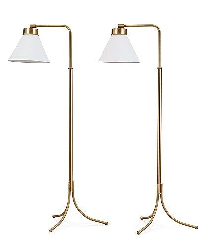 A pair of josef frank brass floor lamps, svenskt tenn, model 1842.
