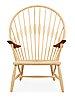 A hans j wegner ash and teak 'peacock chair', by pp møbler, denmark.