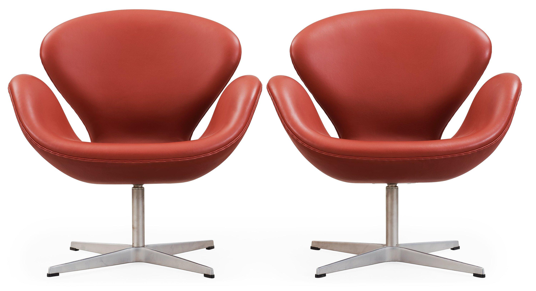 An Arne Jacobsen Red Leather Swan Chair Fritz Hansen Denmark