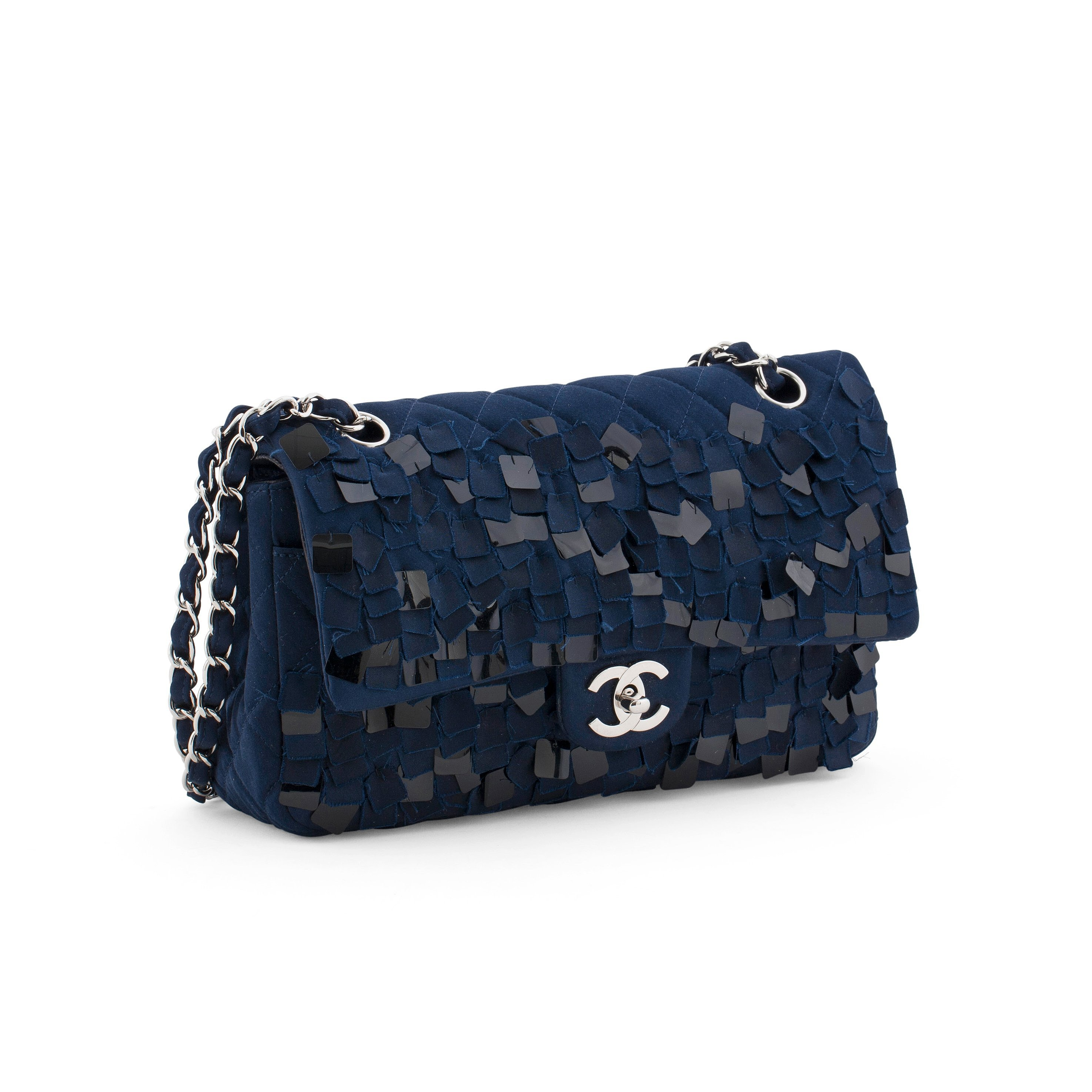88d632240d56bc CHANEL, a quilted blue silk