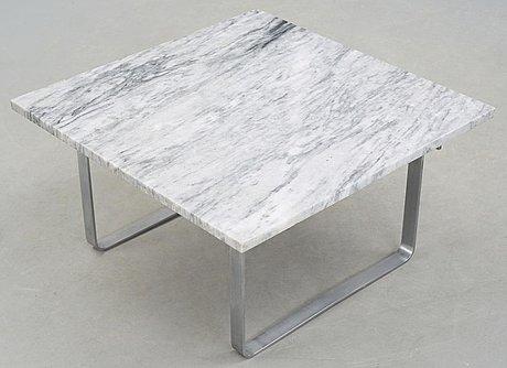 A hans j wegner 'ch-106' steel and marble sofa table, johannes hansen, denmark.