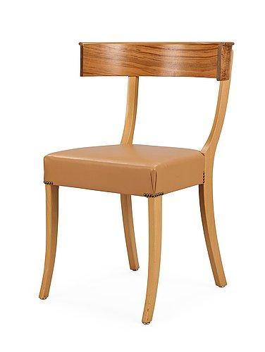 A josef frank walnut, beech and brown leather chair, svenskt tenn, model 300.