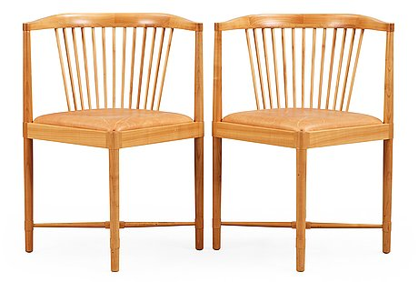 Børge mogensen, a pair of børge mogensen 'ruder konge' cherry and beige leather chairs, søborg møbelfabrik, denmark.