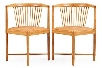 90. Børge Mogensen, A pair of Børge Mogensen 'Ruder Konge' cherry and beige leather chairs, Søborg Møbelfabrik, Denmark.