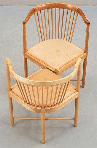 A pair of børge mogensen 'ruder konge' cherry and beige leather chairs, søborg møbelfabrik, denmark.